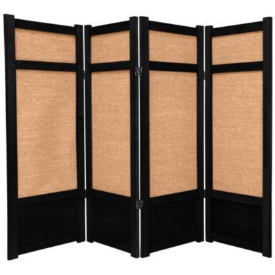 Oriental Furniture 4' Jute Shoji 4 Panel Room Divider