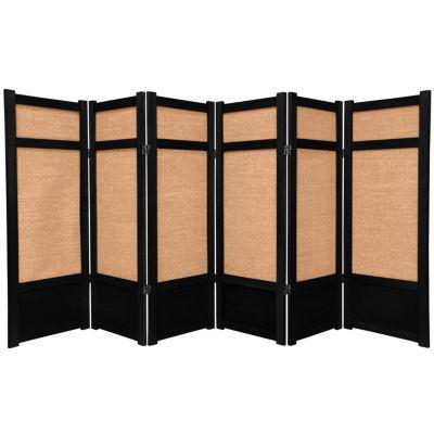 Oriental Furniture 4' Jute Shoji 6 Panel Room Divider