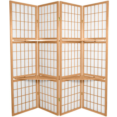 Oriental Furniture 5.5' Window Pane With Shelf Room 4 Panel Room Divider