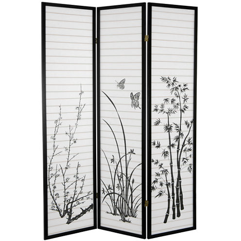 Oriental Furniture 6' Bamboo And Blossoms 3 PanelRoom Divider