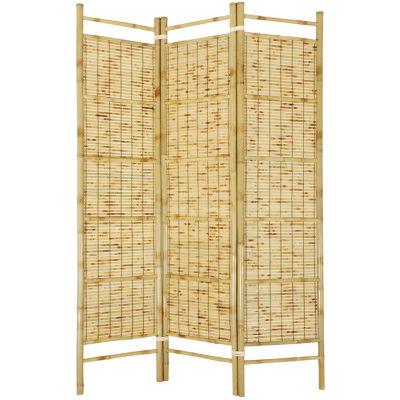Oriental Furniture 6' Burnt Bamboo Shoji Room Divider