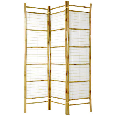 Oriental Furniture 6' Burnt Bamboo With Rice PaperShoji Room Divider