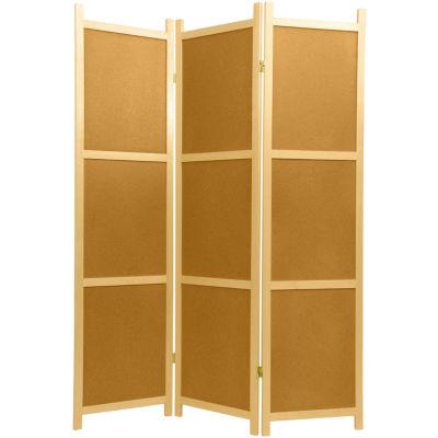 Oriental Furniture 6' Cork Board Shoji 3 Panel Room Divider