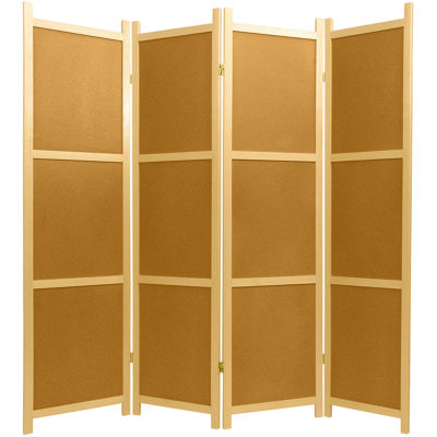 Oriental Furniture 6' Cork Board Shoji 4 Panel Room Divider