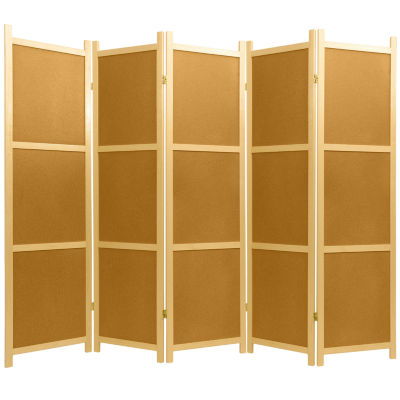 Oriental Furniture 6' Cork Board Shoji 5 Panel Room Divider