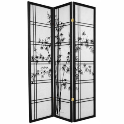 Oriental Furniture 6' Double Cross Bamboo Tree Shoji 3 Panel Room Divider