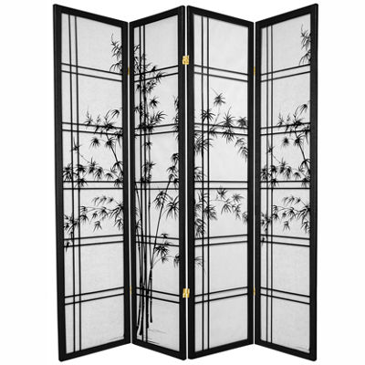 Oriental Furniture 6' Double Cross Bamboo Tree Shoji 4 Panel Room Divider