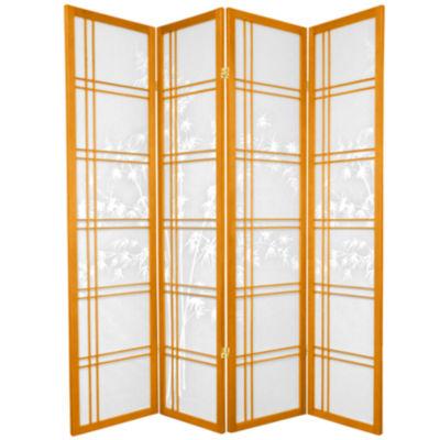 Oriental Furniture 6' Double Cross Bamboo Tree Shoji 4 Panel Room Divider
