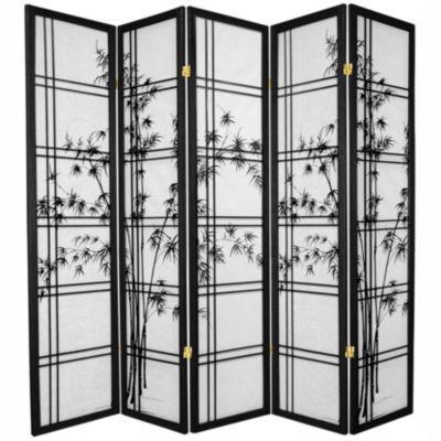 Oriental Furniture 6' Double Cross Bamboo Tree Shoji 5 Panel Room Divider