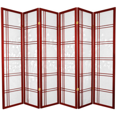 Oriental Furniture 6' Double Cross Bamboo Tree Shoji 6 Panel Room Divider