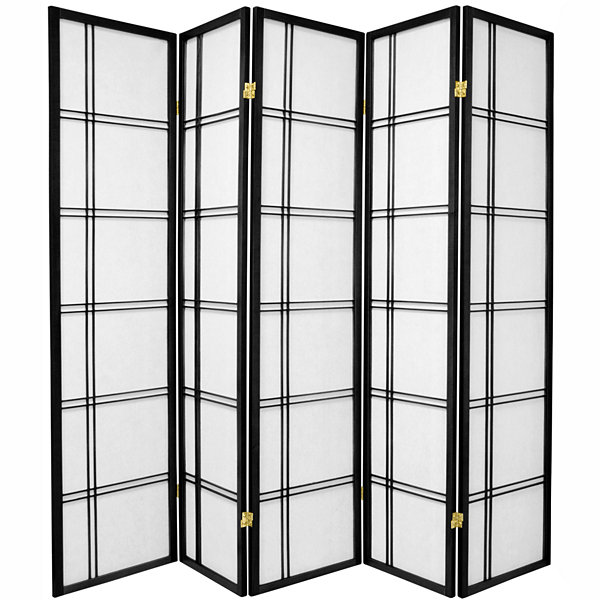Oriental Furniture 6' Double Cross Shoji 5 Panel Room Divider