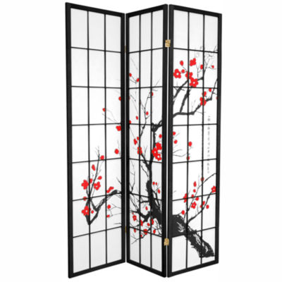 Oriental Furniture 6' Flower Blossom 3 Panel RoomDivider