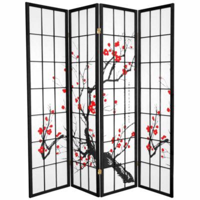 Oriental Furniture 6' Flower Blossom 4 Panel RoomDivider