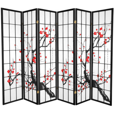 Oriental Furniture 6' Flower Blossom 6 Panel RoomDivider
