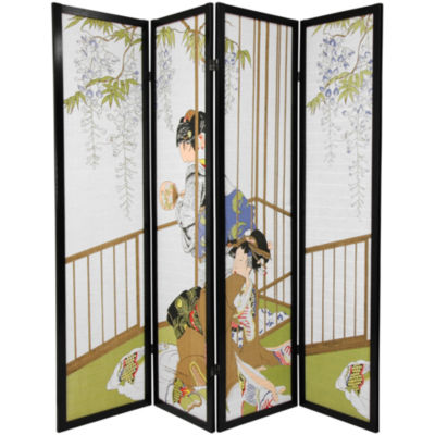 Oriental Furniture 6' Geisha Shoji 4 Panel Room Divider