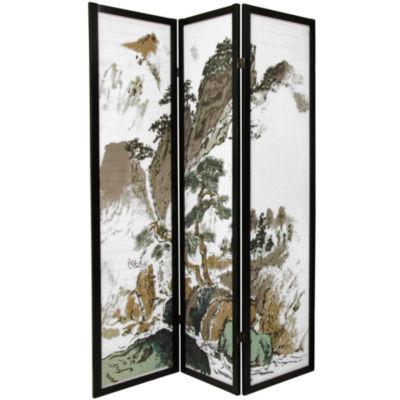 Oriental Furniture 6' Landscape Design Shoji 3 Panel Room Divider