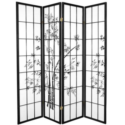 Oriental Furniture 6' Lucky Bamboo Shoji 4 Panel Room Divider