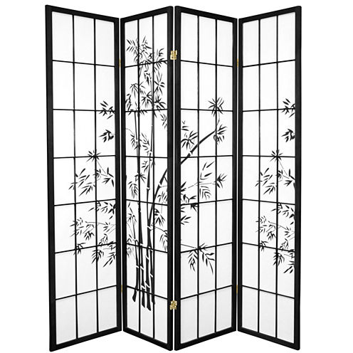 Oriental Furniture 6' Lucky Bamboo Shoji 4 Panel Room Divider