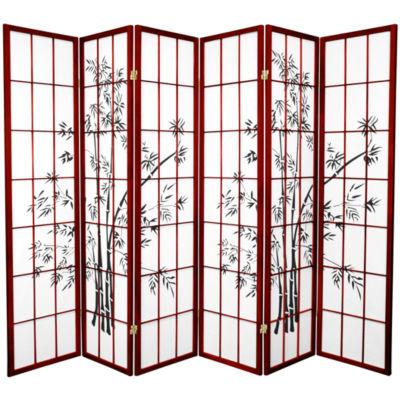 Oriental Furniture 6' Lucky Bamboo Shoji 6 Panel Room Divider