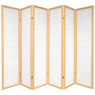 Oriental Furniture 6' Matchstick With Rice Paper Shoji 6 Panel Room Divider