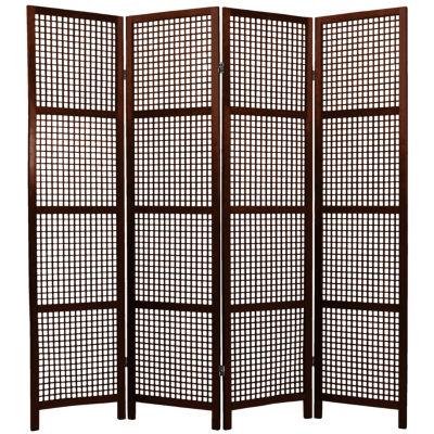 Oriental Furniture 6' Miyagi Shoji 4 Panel Room Divider