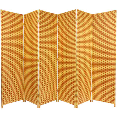 Oriental Furniture 6' Woven Fiber 6 Panel Room Divider