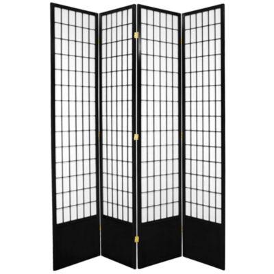 Oriental Furniture 7' Window Pane Shoji 4 Panel Room Divider