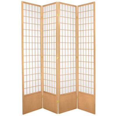 Oriental Furniture 7' Window Pane Shoji 4 Panel Room Divider