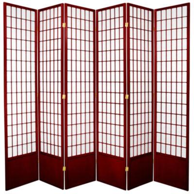 Oriental Furniture 7' Window Pane Shoji 6 Panel Room Divider