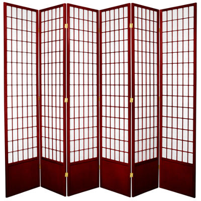 Oriental Furniture 7' Window Pane Shoji 6 Panel Room Divider