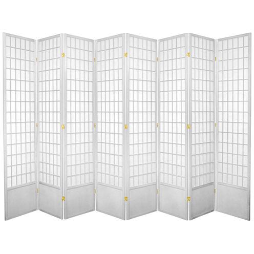 Oriental Furniture 7' Window Pane Shoji 8 Panel Room Divider