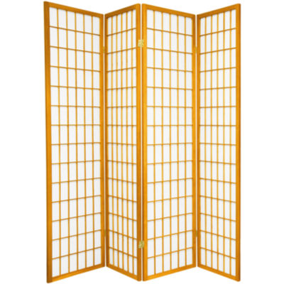 Oriental Furniture 6' Window Pane Shoji 4 Panel Room Divider