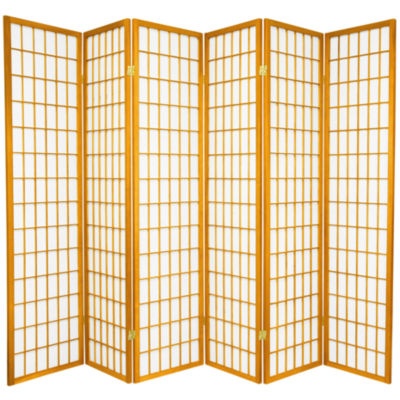 Oriental Furniture 6' Window Pane Shoji 6 Panel Room Divider