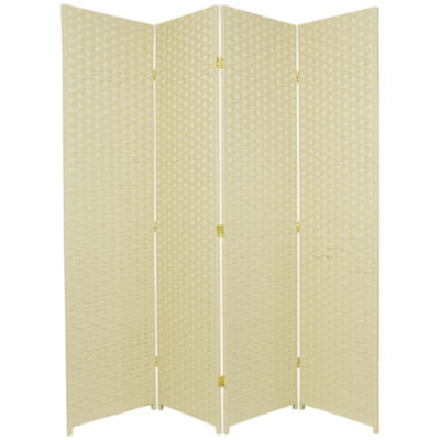 Oriental Furniture 6' Woven Fiber 4 Panel Room Divider