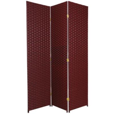 Oriental Furniture 6' Woven Fiber 3 Panel Room Divider