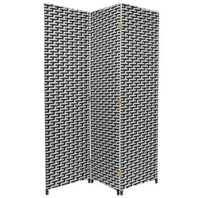 6' Woven Fiber 3 Panel Room Divider