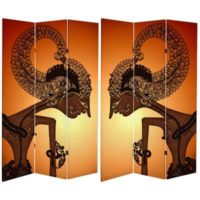 Oriental Furniture 6' Elephant And Zebra Room Divider