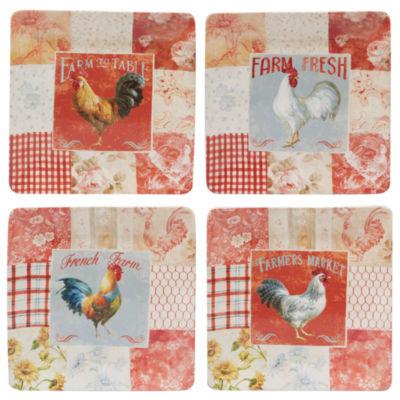 Certified International Farm Hous Rooster 4-pc. Dinner Plate