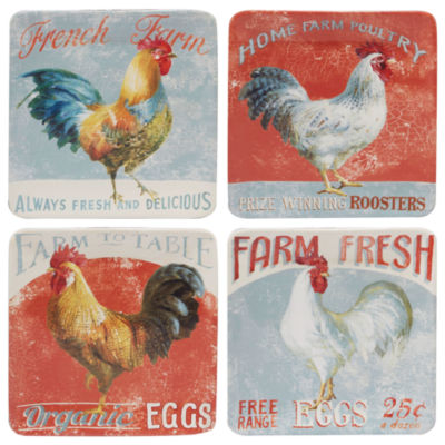 Certified International Farm Hous Rooster 4-pc. Salad Plate