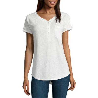 St. John's Bay Short Sleeve V Neck T-Shirt Petites