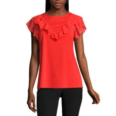Worthington Short Sleeve Ruffle Front Shirt