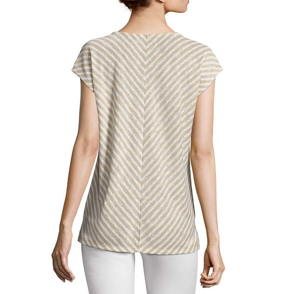 Liz Claiborne Short Sleeve V Neck Stripe T Shirt Womens
