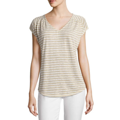 Liz Claiborne Short Sleeve V Neck Stripe T-Shirt-Womens