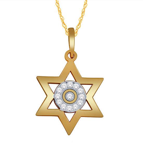 Womens Diamond Accent Genuine White Diamond 10k Gold Star Pendant Necklace