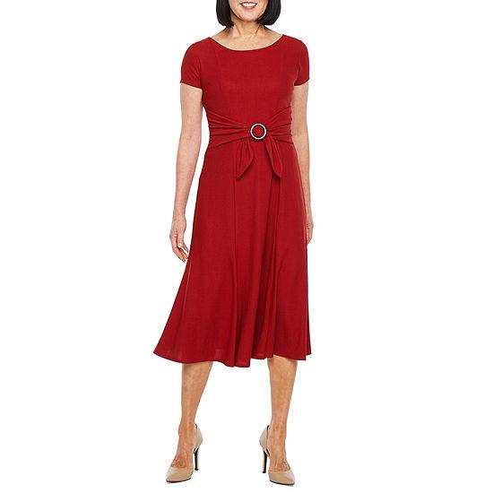 Perceptions Short Sleeve Midi Fit & Flare Dress