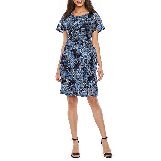Robbie Bee Short Sleeve Paisley Lace Sheath Dress
