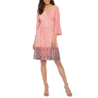 Sharagano 3/4 Sleeve Dots Wrap Dress
