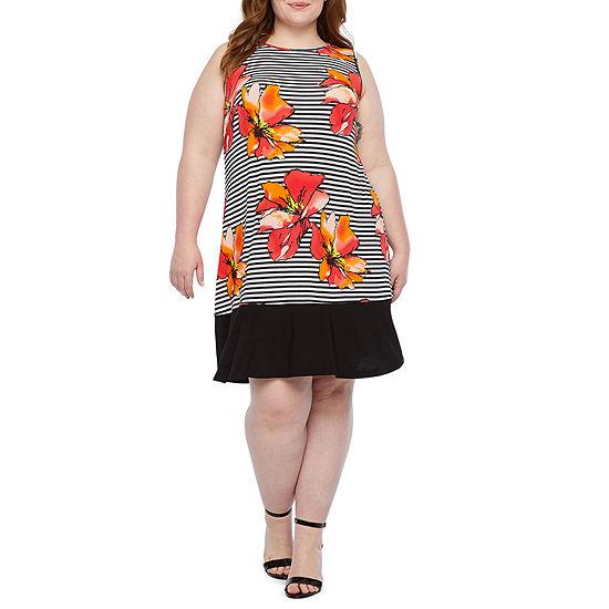 Ronni Nicole Sleeveless Striped Floral Shift Dress-Plus