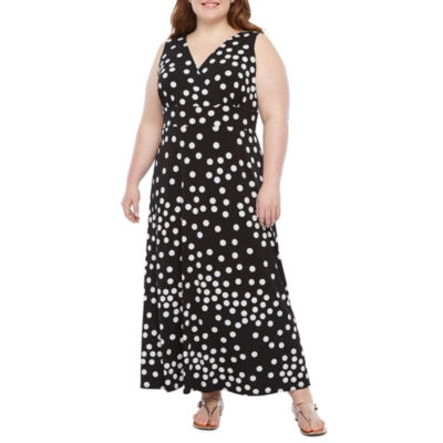 Ronni Nicole Sleeveless Dots Maxi Dress-Plus