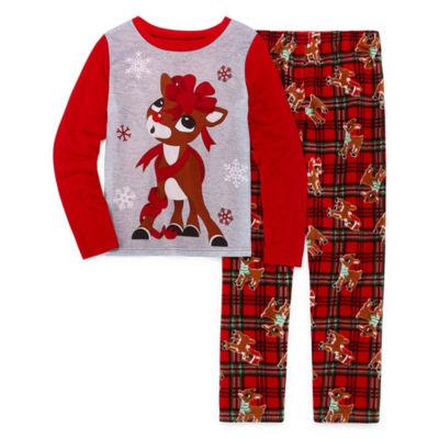 North Pole Trading Co. Family Girls 2-pc. Rudolph Pant Pajama Set Preschool / Big Kid